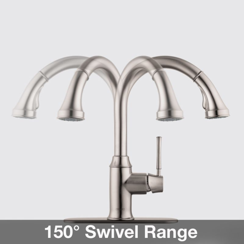 Hansgrohe 04215001 Chrome Talis C Pull-Down Kitchen Faucet with High ...