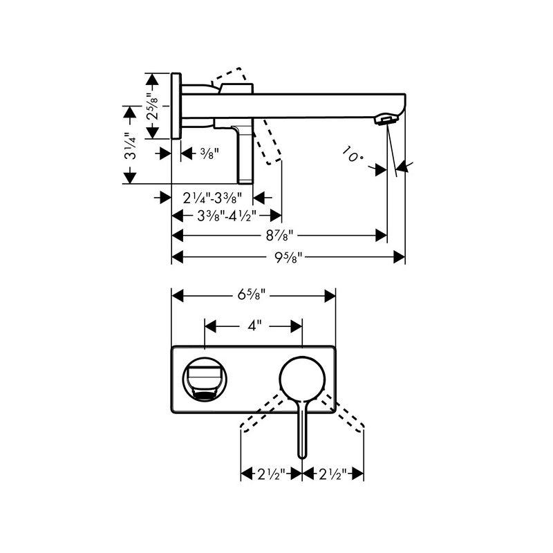 Hansgrohe 31163001 Chrome Metris S 1.2 GPM Wall Mounted Bathroom ...