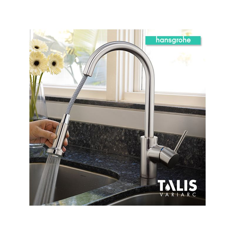 Hansgrohe 06801001 Chrome Talis S Variarc Pull-Down Spray Kitchen ...