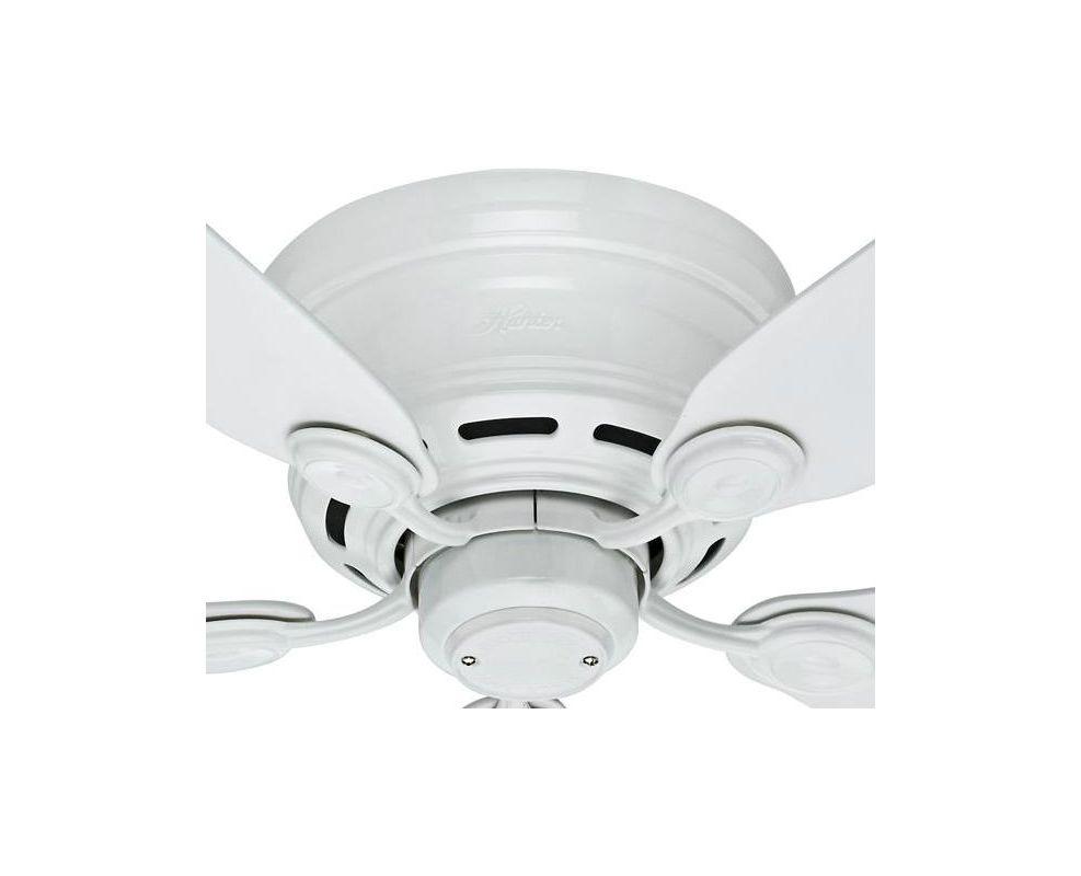 Hunter 51059 White 42 Flush Mount Indoor Ceiling Fan 5 Reversible Blades Included Ventingdirect Com