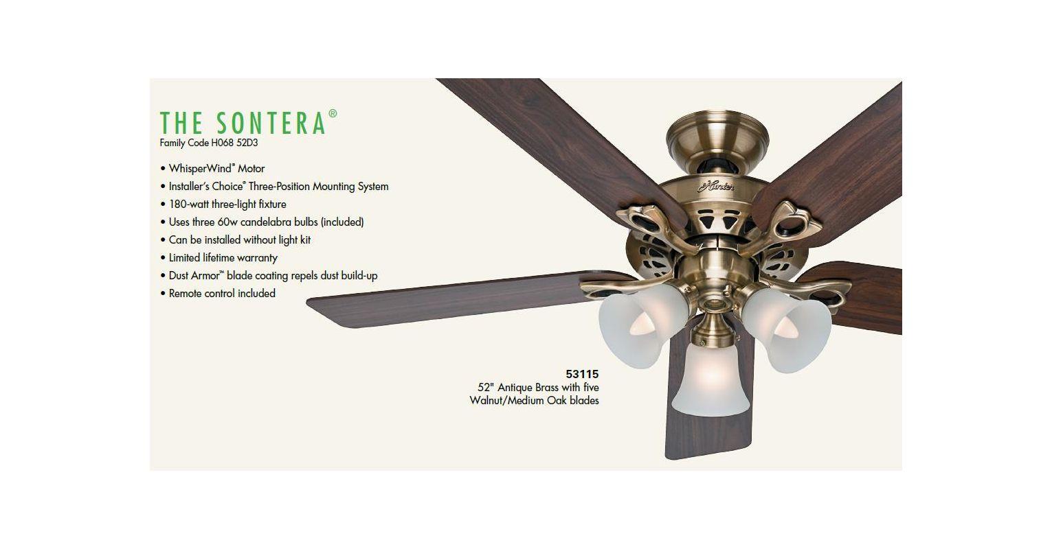 Hunter 53117 Brushed Nickel 52 Indoor Ceiling Fan