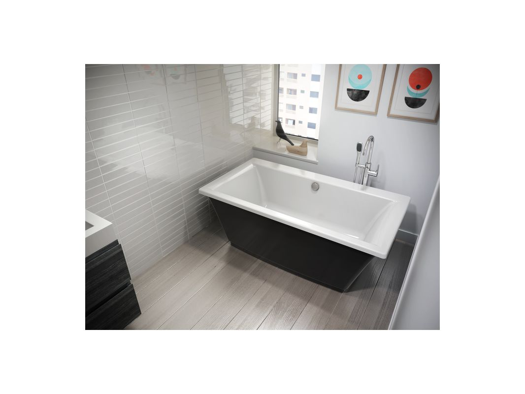 Jacuzzi Fif6636bck Black White Fiore 65 5 Soaking Freestanding Bathtub With Center Drain Faucet