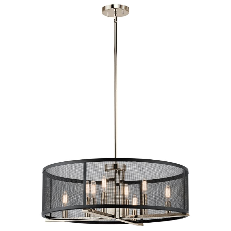 Kichler 43715pn titus 8 light 25 wide chandelier with metal kichler 43715pn titus 8 light 25 wide chandelier with metal shade polished nickel mozeypictures Image collections