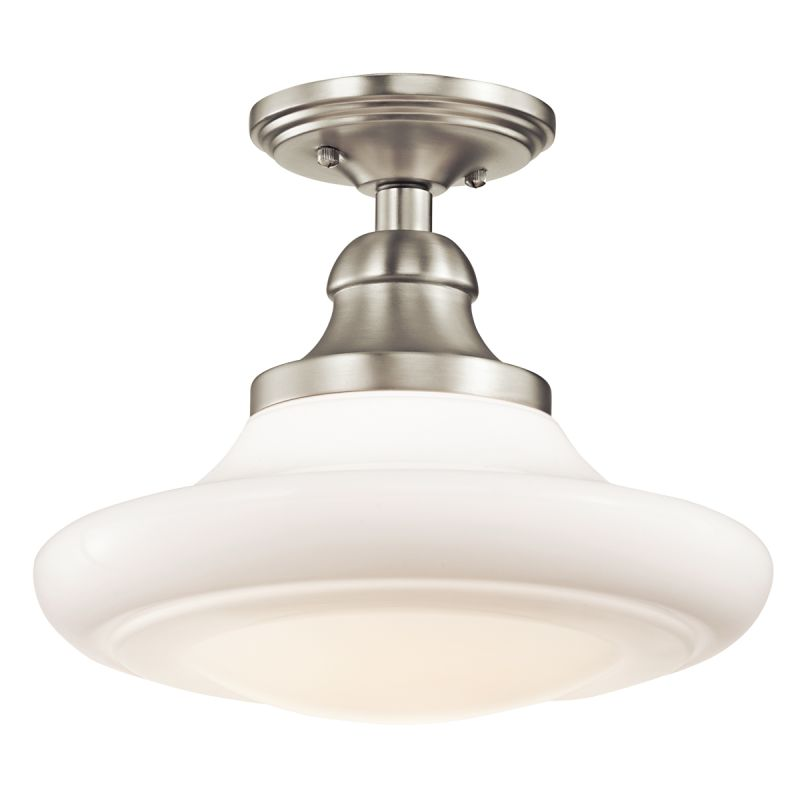 kichler 42270ni brushed nickel keller singlebulb indoor pendant with glass shade