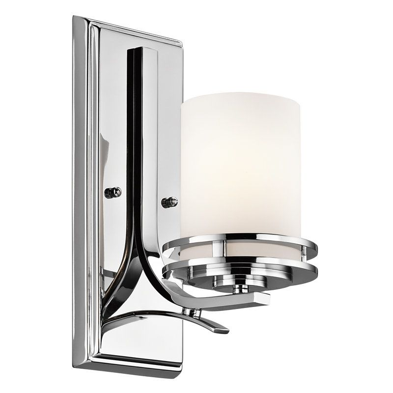 Kichler 5076NI Brushed Nickel Hendrik Single Light 12 Tall Wall Sconce With Satin Etched Glass Shade