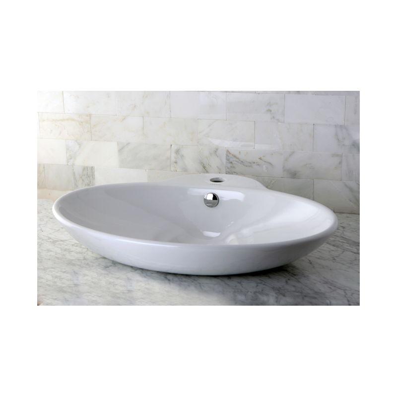 Kingston Br Ev4251 White Oliva 25 3 16 Oval Vitreous China Kalala Marble Bathroom Vessel Sinks Basin