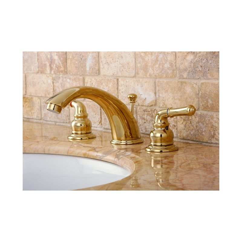 Kingston Brass KB964 Polished Chrome / Polished Brass Magellan Widespread Bathroom  Faucet With Pop Up Drain Assembly And Metal Lever Handles   Faucet.com