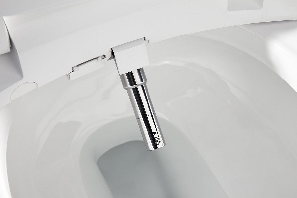 kohler k4000k4108 white san souci 128 gpf elongated comfort height toilet with touchless flush and c3 230 slim elongated bidet seat with touchscreen