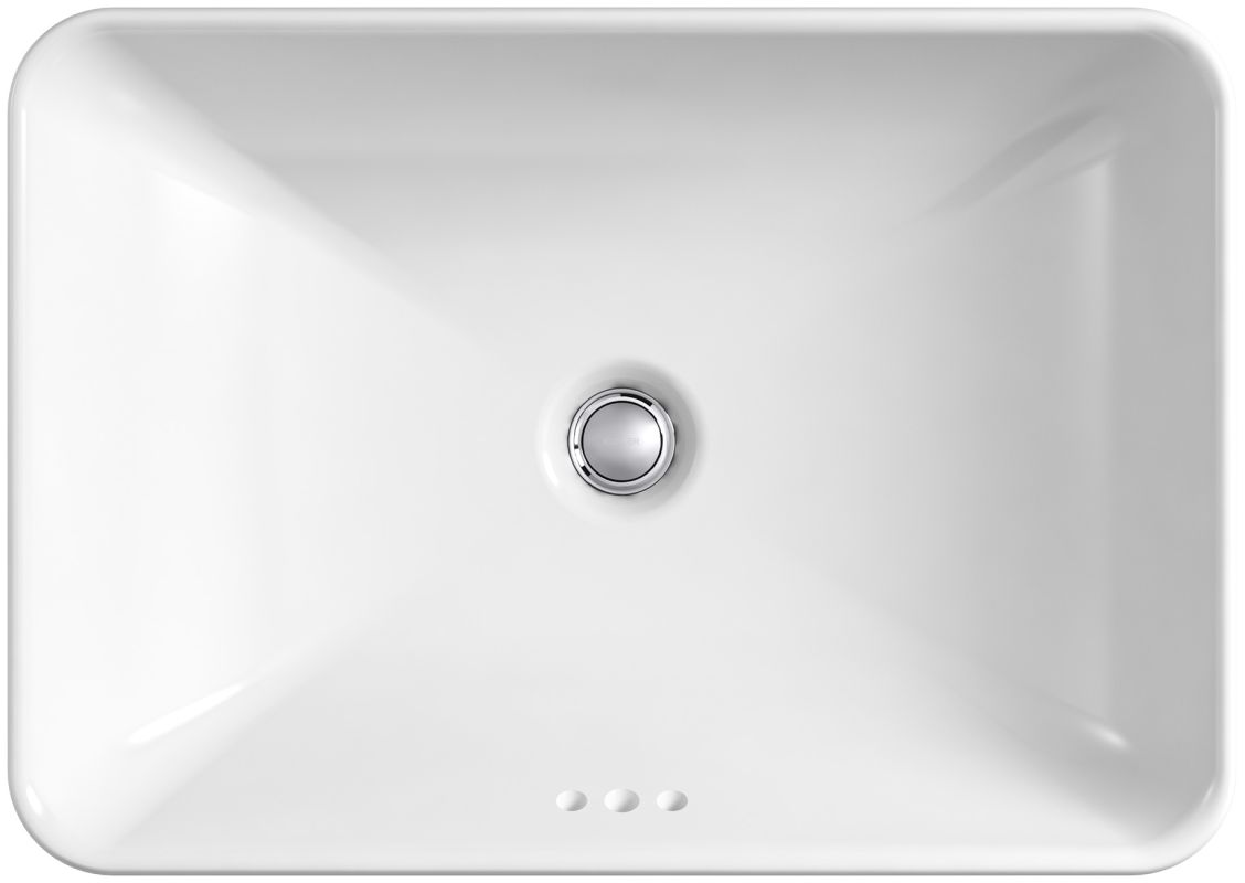 Bathroom sink top view - Kohler K 5373 0 White 22 5 8 Vox Rectangle Vessel Sink With Overflow Faucet Com