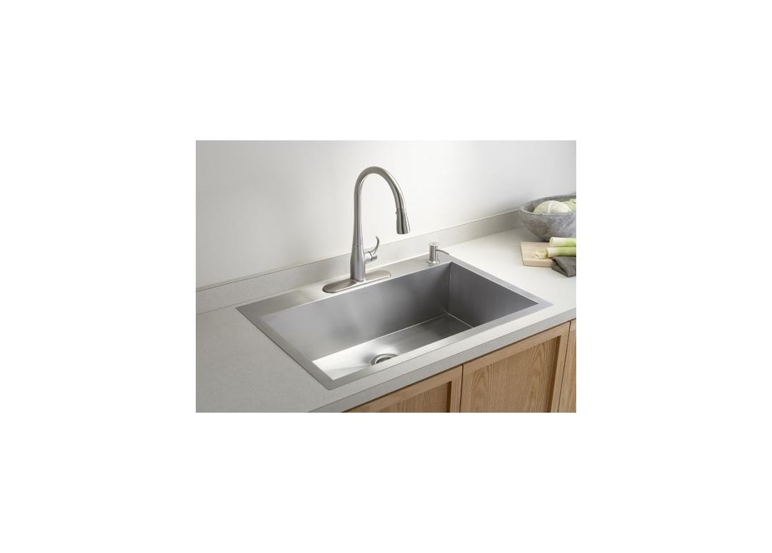 Single Kitchen Sinks Kohler k 3821 1 na stainless steel vault 33 single basin top mount kohler k 3821 1 na stainless steel vault 33 single basin top mountunder mount 18 gauge stainless steel kitchen sink with silentshield faucet workwithnaturefo