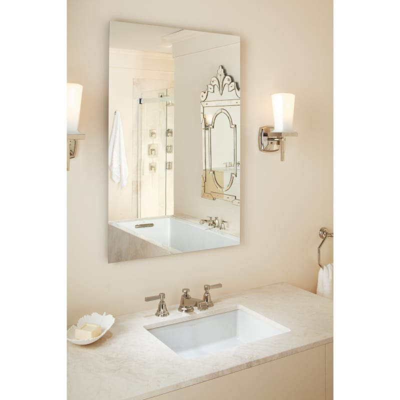 Kohler K 2882 0 White Verticyl 19 13 16 Rectangular Undermount Bathroom Sink With Vertical Sides And Overflow Faucet