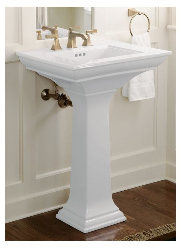 Kohler K 2344 8 0 White Memoirs 24 Pedestal Fireclay Bathroom Sink With 3 Faucet Holes Drilled And Overflow