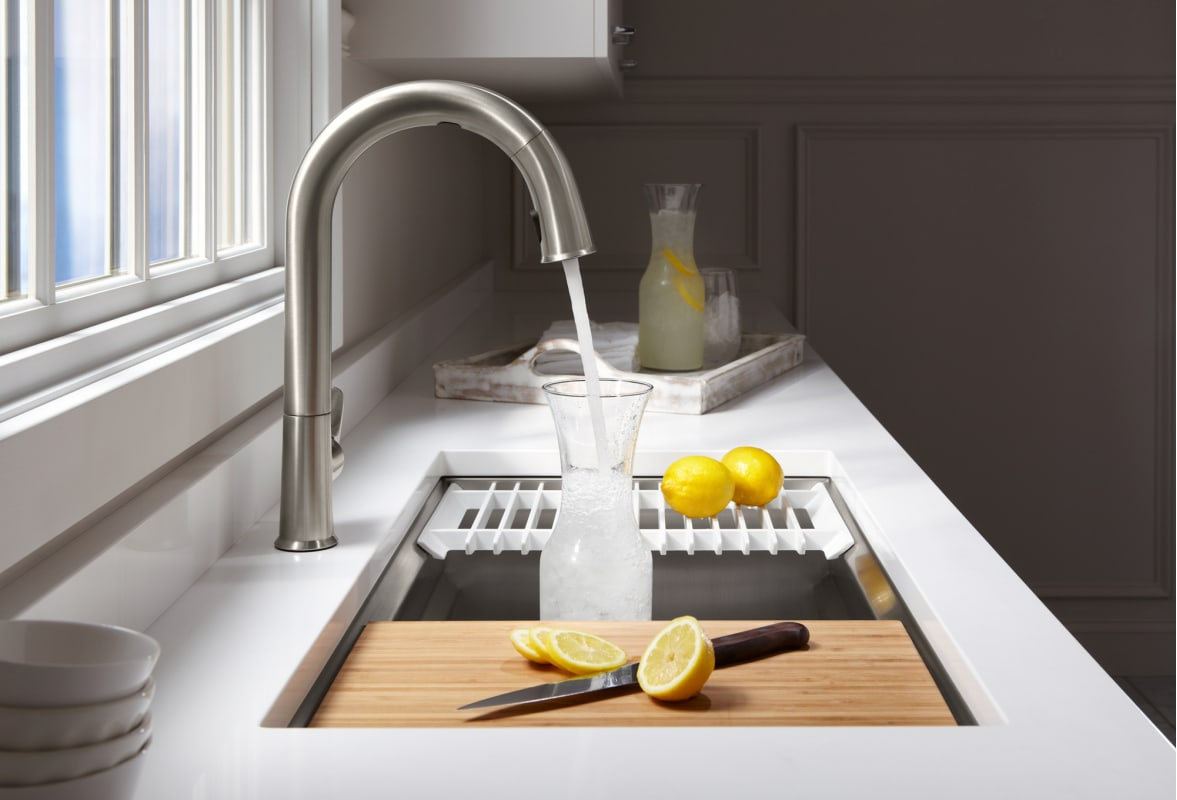 Kohler K 23651 Na Stainless Steel Prolific 29 Undermount Single Basin Kitchen Sink With Silentshield Technology Bamboo Cutting Board