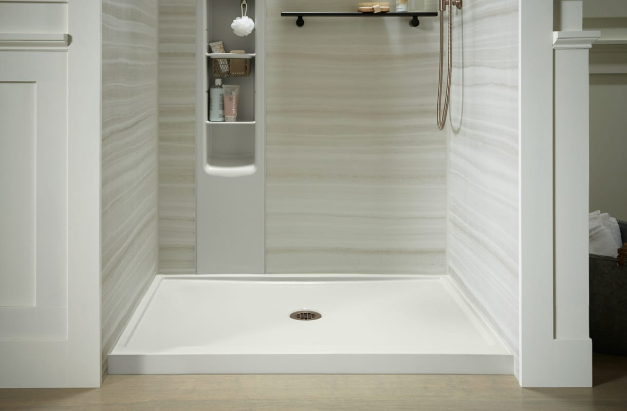 Kohler K 8461 0 White Rely 34 X 48 Shower Base With Single Threshold And Center Drain Faucet