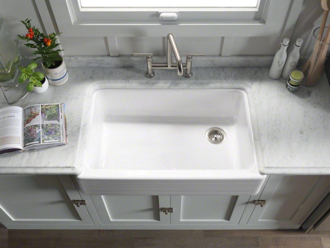 Kohler K 6351 0 White Whitehaven 36 Single Basin Farmhouse Cast Iron Kitchen Sink With Hayridge Design And Self T A Faucet