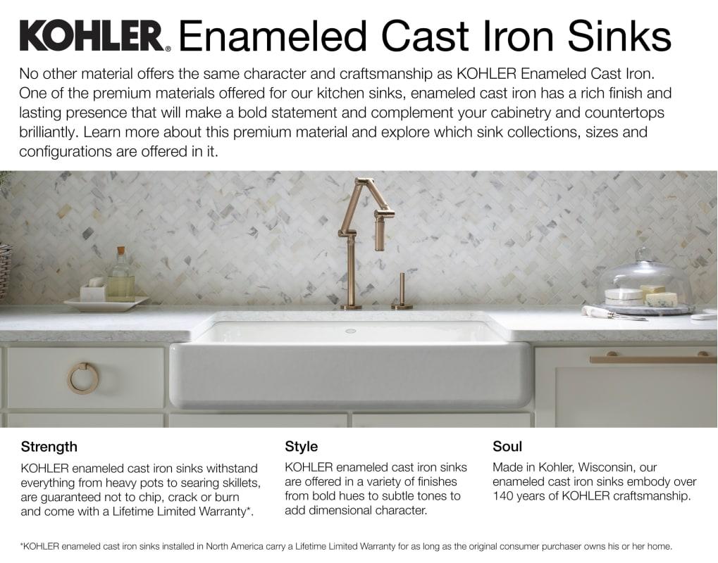 Kohler K 6546 4u 0 White Inson 33 Single Basin Under Mount Enameled Cast Iron Kitchen Sink With A Front Faucet