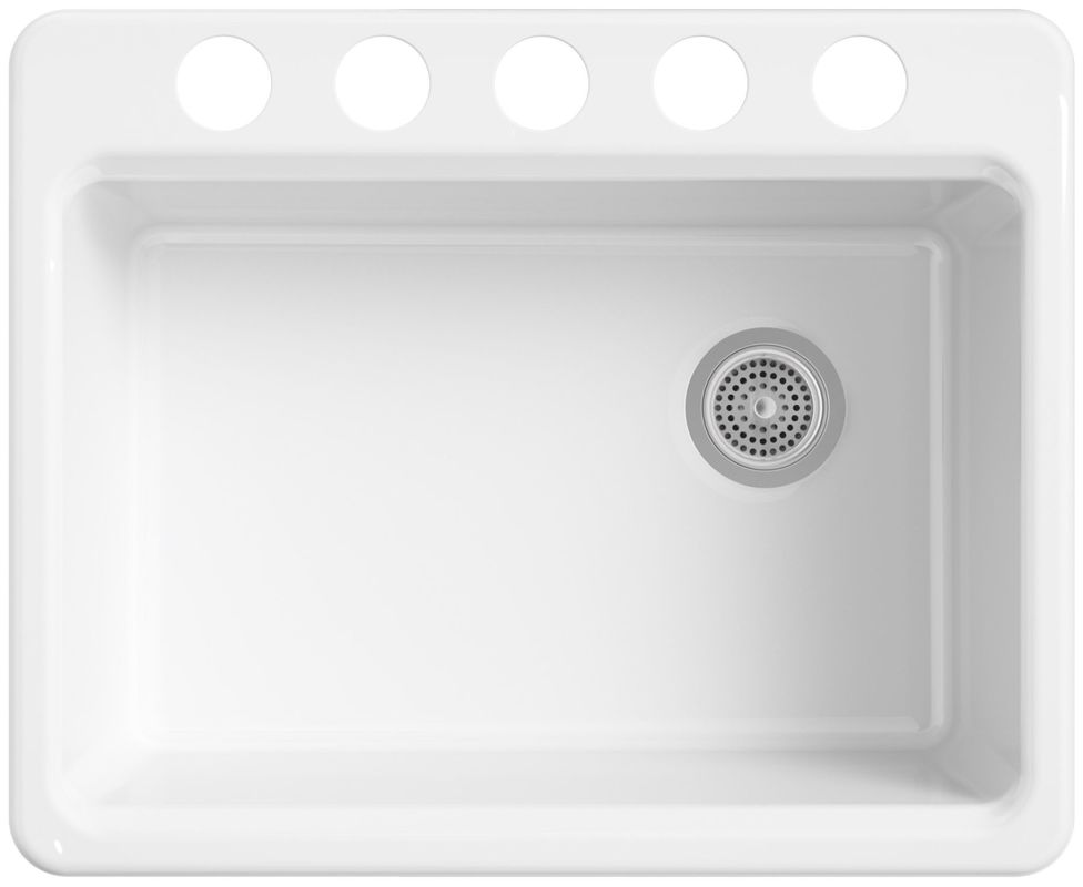 """Kohler K-8668-5UA2-0 White Riverby 27"""" Single Basin Cast Iron Kitchen Sink for Undermount Installations - Basin Rack, Colander, and Cutting Board Included ..."""