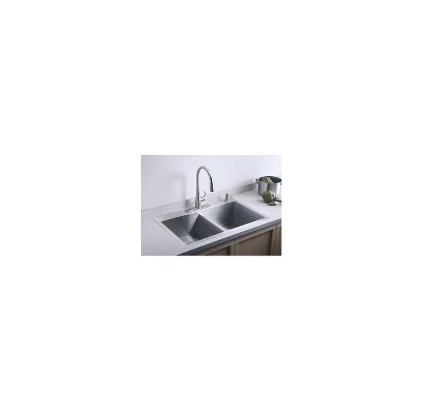 Kohler Vault-K-3820-3-Package-CP Stainless Sink / Polished Chrome ...