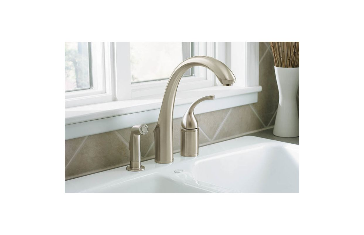 Kohler K-10430-CP Polished Chrome Forte 3-Hole Remote Valve Kitchen ...