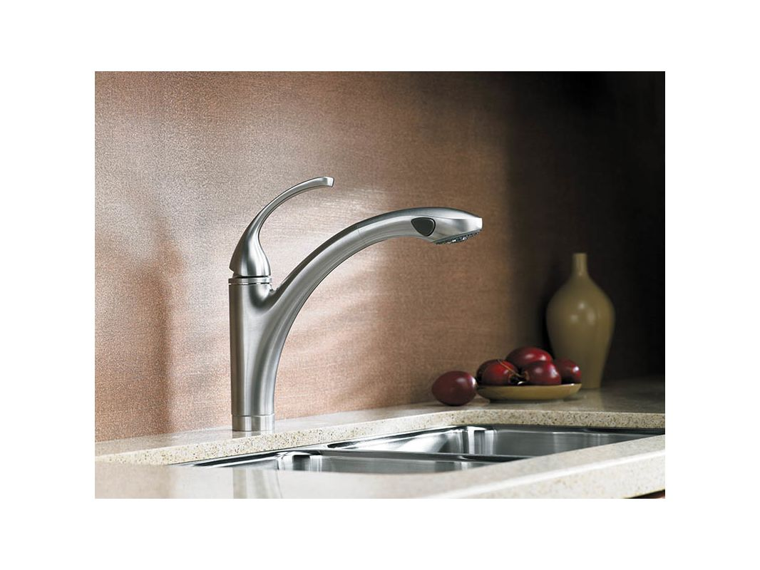Kohler K 10433 Bn Brushed Nickel Forte Single Hole Or 3 Kitchen Sink Faucet With 10 1 8 Pullout Spray Spout Masterclean Sprayface