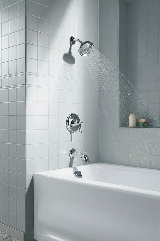 Kohler K 1150 La 47 Almond Bancroft Collection 60 Three Wall Alcove Soaking Bath Tub With Left Hand Drain Faucet