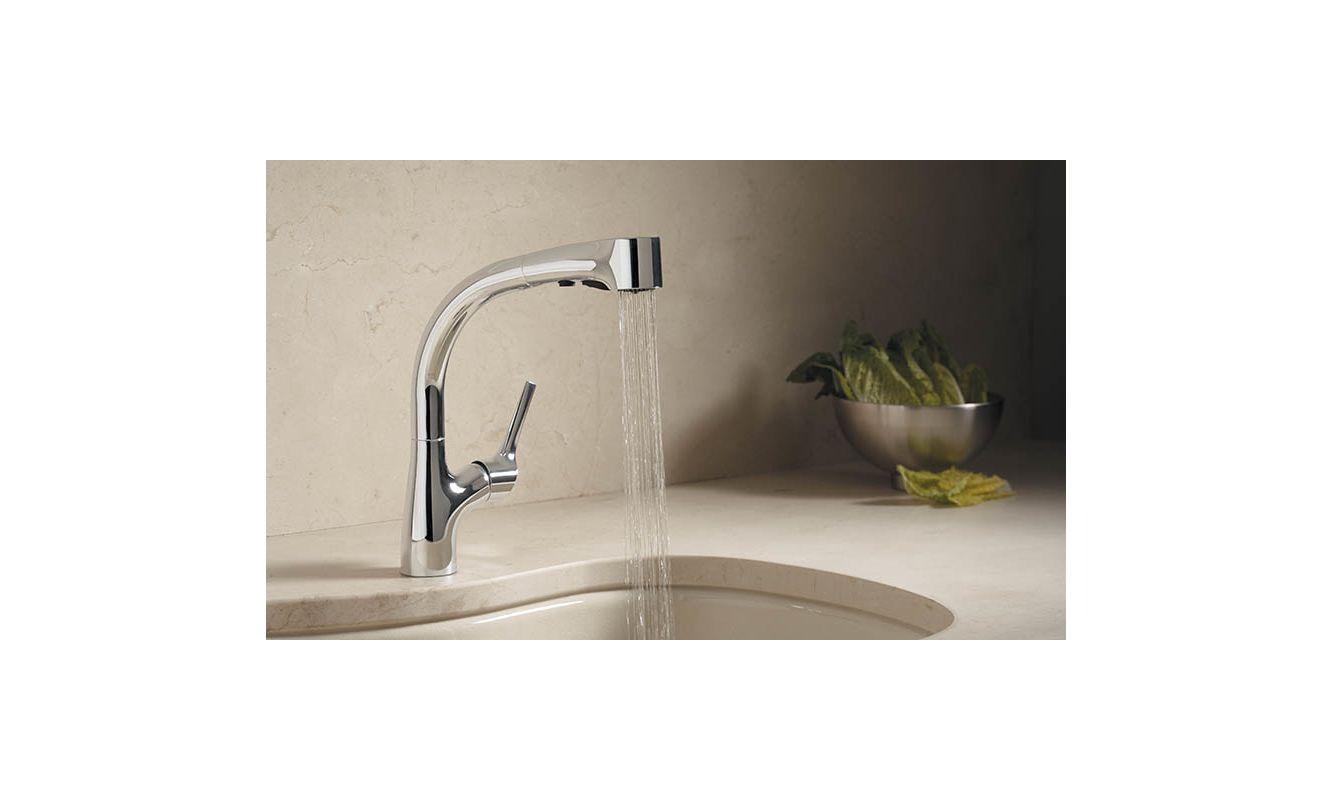 Kohler K-13963-CP Polished Chrome Elate Kitchen Sink Faucet with ...