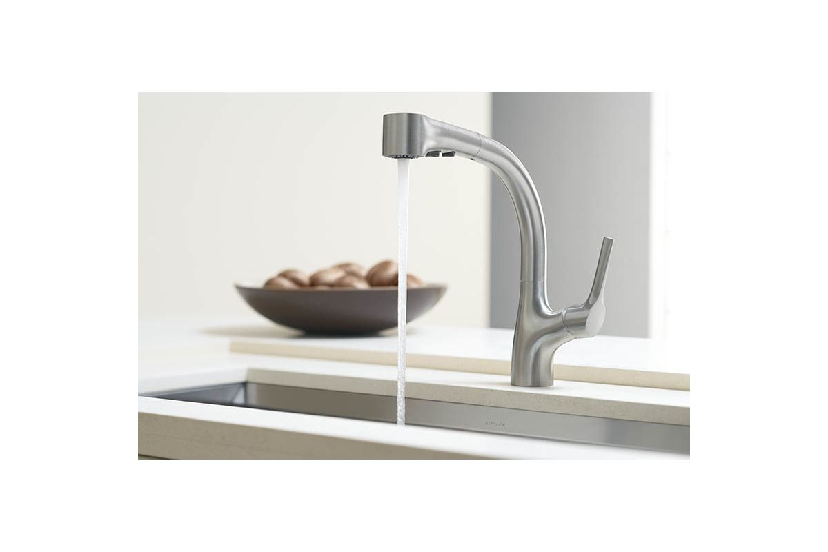 Kohler K 13963 CP Polished Chrome Elate Kitchen Sink Faucet With Pullout  Spray Spout, Lever Handle And ProMotion Technology   Faucet.com