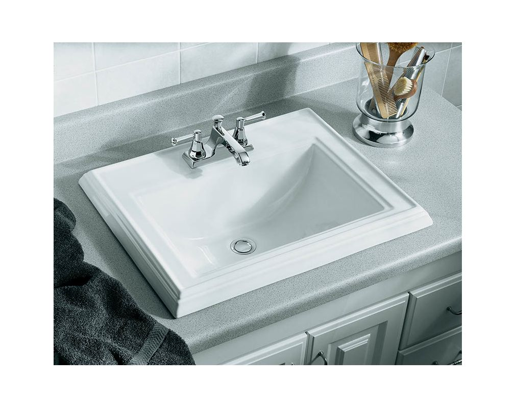 Kohler K 2241 8 0 White Memoirs Clic 17 Drop In Bathroom Sink With 3 Holes Drilled And Overflow Faucet