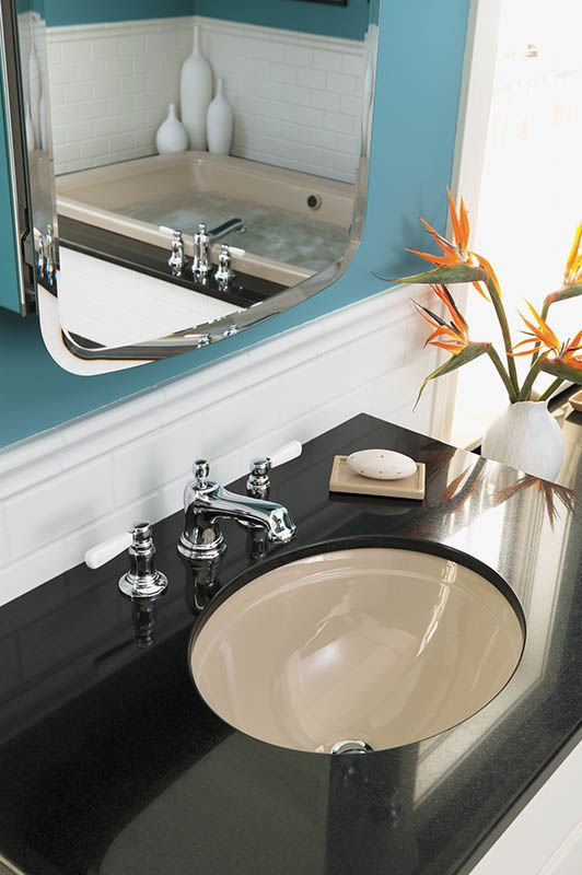 Kohler K 2319 7 Black Bancroft 17 1 4 Undermount Bathroom Sink With Overflow Faucet