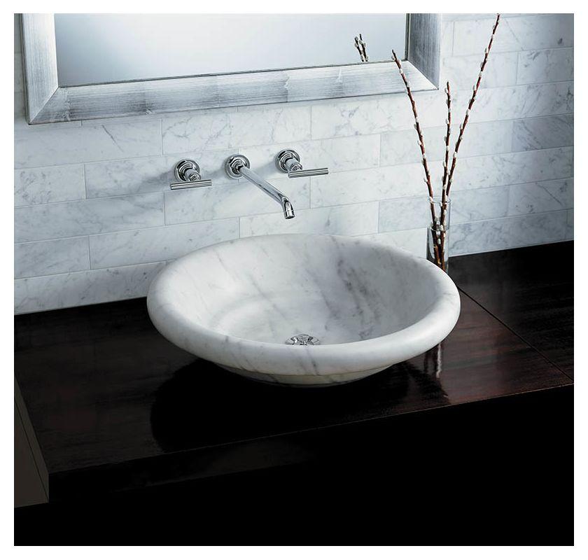 Kohler KWH White Carrara Botticelli Marble Vessel Sink - Kohler bathroom sink faucet parts