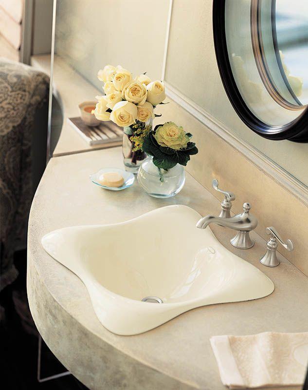 Kohler K Ice Grey Dolce Vita Cast Iron Drop In Bathroom - Kohler commercial bathroom sinks