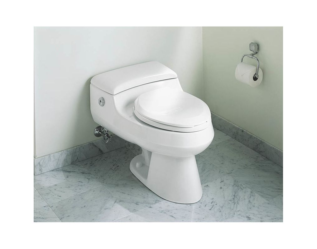 Kohler K 3393 47 Almond San Raphael Comfort Height Elongated One Piece Toilet With Twin Touch Actuator And French Curve Quiet Close Seat