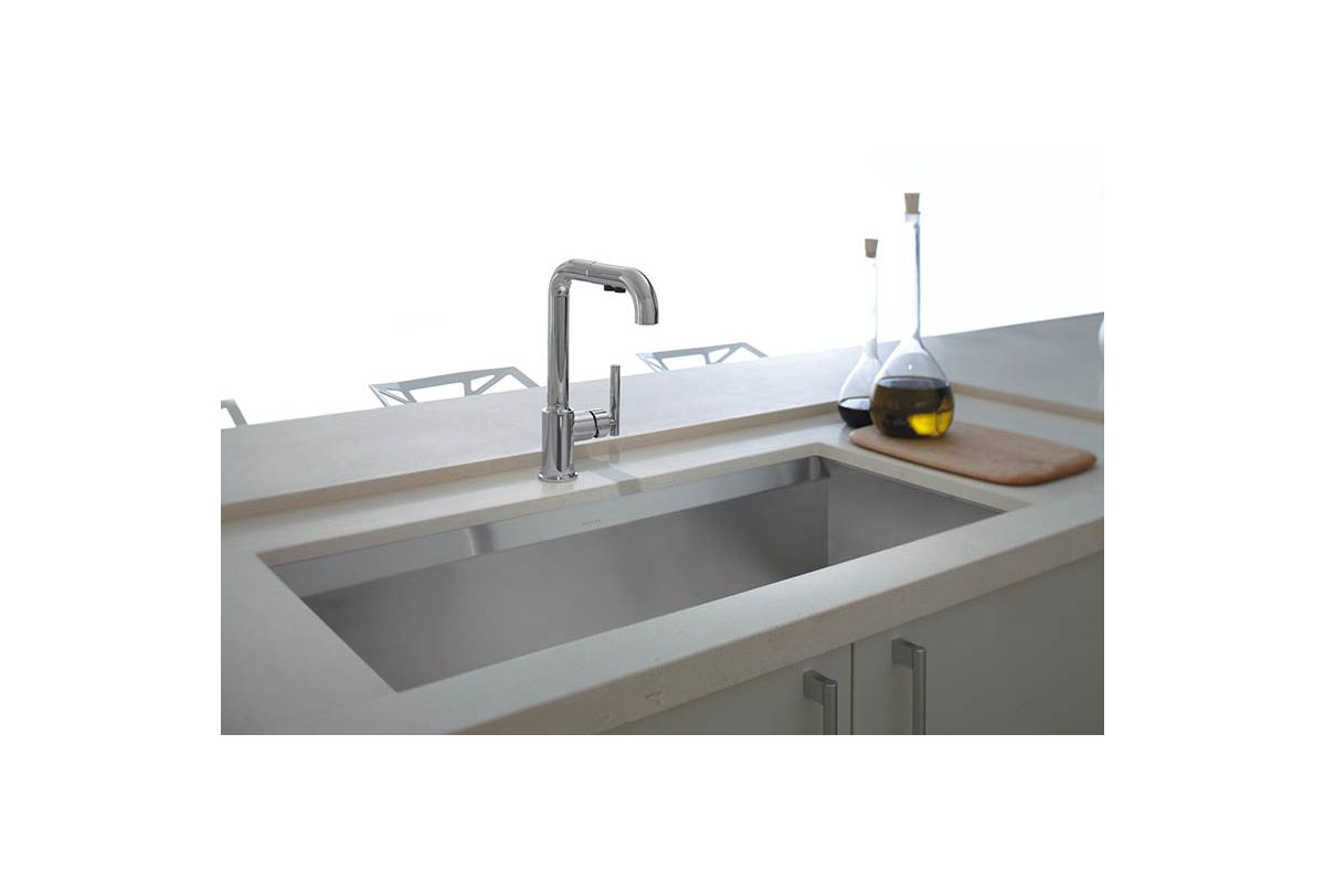 on pull kohler cool kitchen out gold faucet faucets purist