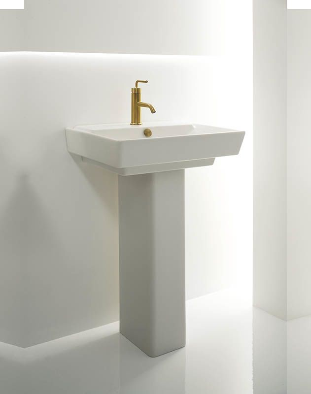 Kohler K 5152 1 Hw1 Honed White 23 Single Basin Bathroom Sink And Pedestal From The Reve Collection Faucet