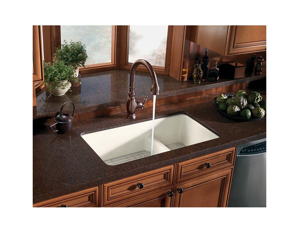 Kohler K 6625 K4 Cashmere Iron Tones 33 Double Basin Top Mount Under Enameled Cast Kitchen Sink With Smart Divide Faucet