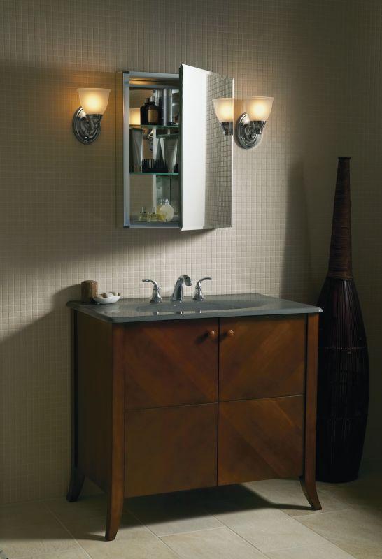 Kohler K Cb Clc2026fs Silver Aluminum 20 X 26 Single Door Reversible Hinge Frameless Mirrored Medicine Cabinet Faucet