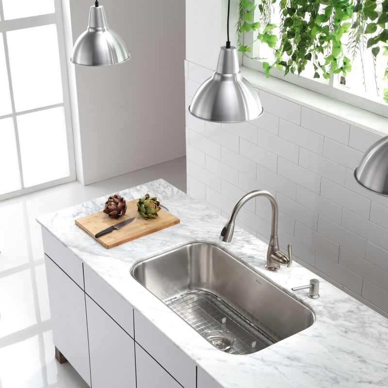 Kraus kbu14 stainless steel 31 12 single basin 16 gauge stainless kraus kbu14 stainless steel 31 12 single basin 16 gauge stainless steel kitchen sink for undermount installations basin rack and basket strainer workwithnaturefo