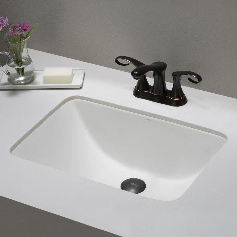 Kraus Kcu 241 White Elavo 20 7 8 Ceramic Undermount Bathroom Sink With Overflow Faucet