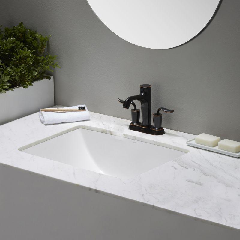 Kraus Kcu 251 White Elavo 23 1 4 Ceramic Undermount Bathroom Sink With Overflow Faucet