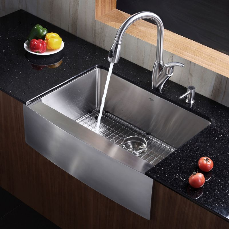 Kraus Stainless Steel Kitchen Sinks Kraus khf200 30 stainless steel 29 34 single basin 16 gauge kraus khf200 30 stainless steel 29 34 single basin 16 gauge stainless steel kitchen sink for farmhouse installations with apron front basin rack and workwithnaturefo
