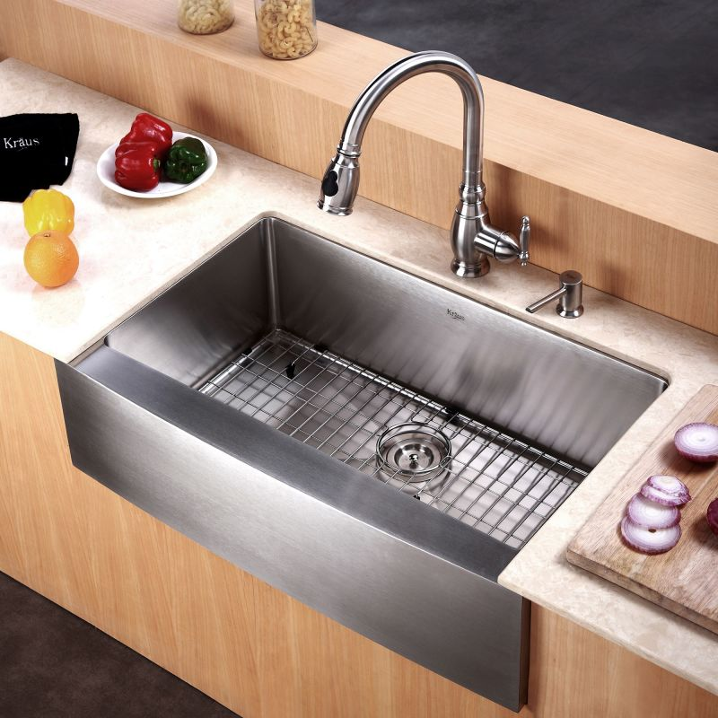 Metal Kitchen Sinks Kraus khf200 30 stainless steel 29 34 single basin 16 gauge kraus khf200 30 stainless steel 29 34 single basin 16 gauge stainless steel kitchen sink for farmhouse installations with apron front basin rack and workwithnaturefo
