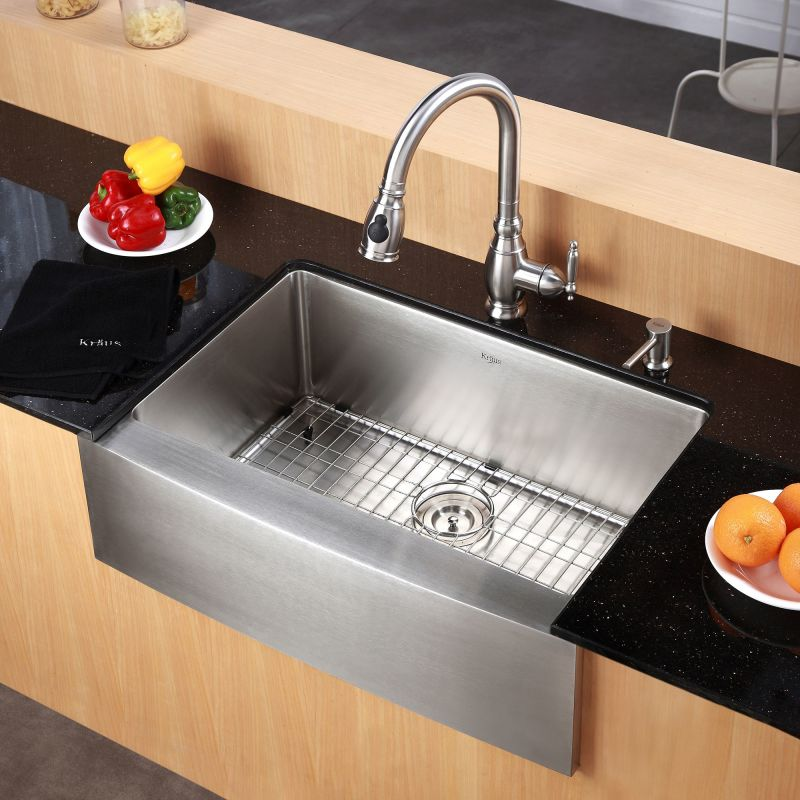 Kraus khf200 33 stainless steel 32 78 single basin 16 gauge kraus khf200 33 stainless steel 32 78 single basin 16 gauge stainless steel kitchen sink for farmhouse installations with apron front basin rack and workwithnaturefo