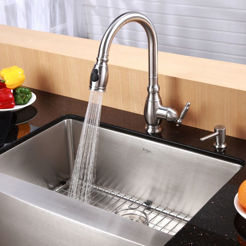 Kitchen Sinks Dallas Kraus khf200 33 stainless steel 32 78 single basin 16 gauge kraus khf200 33 stainless steel 32 78 single basin 16 gauge stainless steel kitchen sink for farmhouse installations with apron front basin rack and workwithnaturefo