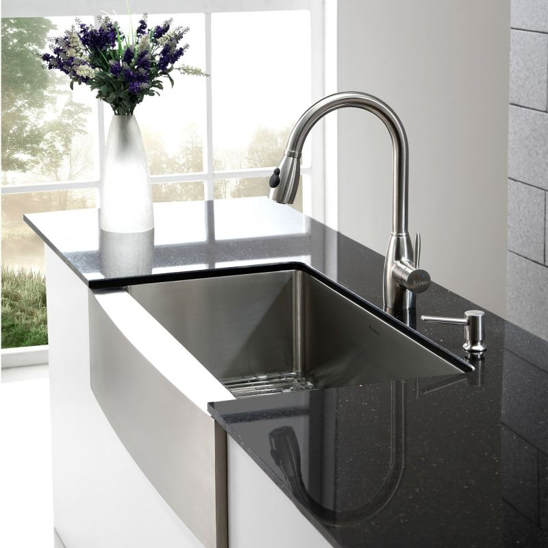 Kraus khf200 36 stainless steel 35 78 single basin 16 gauge kraus khf200 36 stainless steel 35 78 single basin 16 gauge stainless steel kitchen sink for farmhouse installations with apron front basin rack and workwithnaturefo