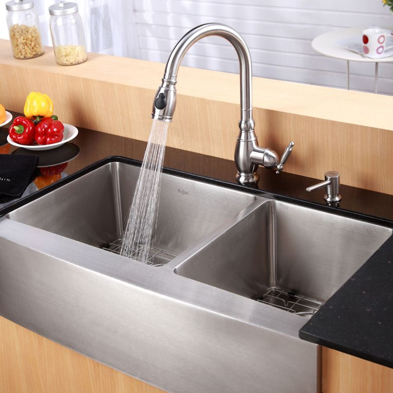 Kitchen Sinks Double Kraus khf203 36 stainless steel 35 78 double basin 16 gauge kraus khf203 36 stainless steel 35 78 double basin 16 gauge stainless steel kitchen sink for farmhouse installations with 6040 split basin racks and workwithnaturefo