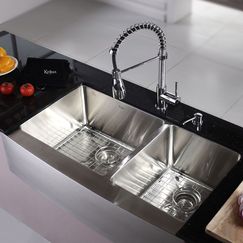 60 40 Kitchen Sink Kraus khf203 36 stainless steel 35 78 double basin 16 gauge kraus khf203 36 stainless steel 35 78 double basin 16 gauge stainless steel kitchen sink for farmhouse installations with 6040 split basin racks and workwithnaturefo