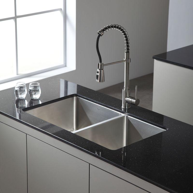 KRAUS 33 Inch Undermount 50/50 Double Bowl Black Onyx Granite Kitchen Sink
