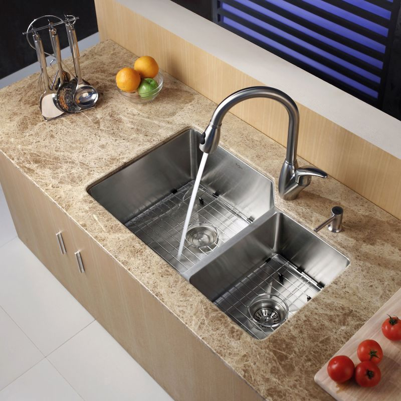 Kraus Khu123 32 Stainless Steel Undermount 60 40 Double Bowl 16 Gauge Kitchen Sink Faucet