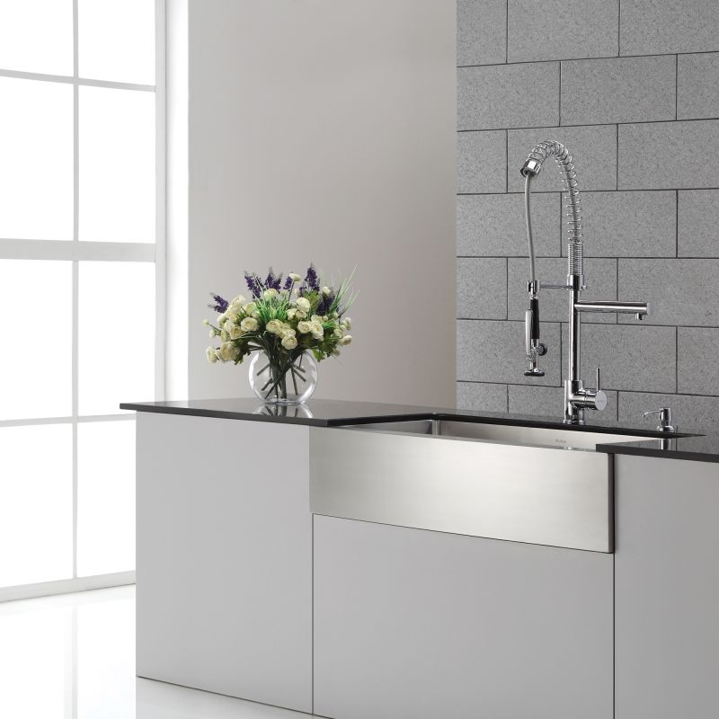 Kraus KPF-1602 Chrome Commercial Style Pre-Rinse Kitchen Faucet ...