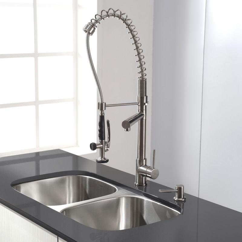 Superb Tall Kitchen Faucets #15 - Kraus KPF-1602SS Stainless Steel Commercial Style Pre-Rinse Kitchen Faucet  With Pot Filler - Faucet.com
